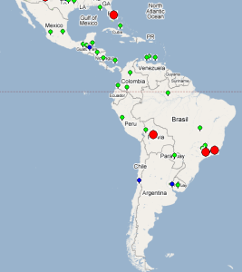 Latin america case study internet end to end performance in brazil two in sao polo and one in rio de janeiro one in mexico cuidad juarez and one in boliviae map below shows the location of the sites gumiabroncs Choice Image